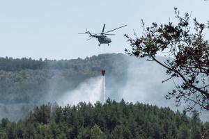 Снимка: Борбата с огъня на остров Закинтос продължава