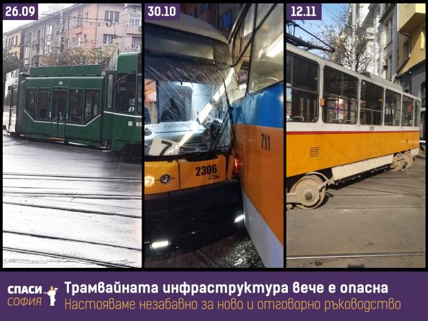 Спаси София иска отговорност за зачестилите инциденти с трамваите