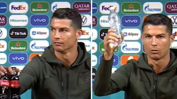 ВИДЕО Кристиано Роналдо потопи един от спонсорите на Евро 2020: Пийте вода, а не Кока-кола